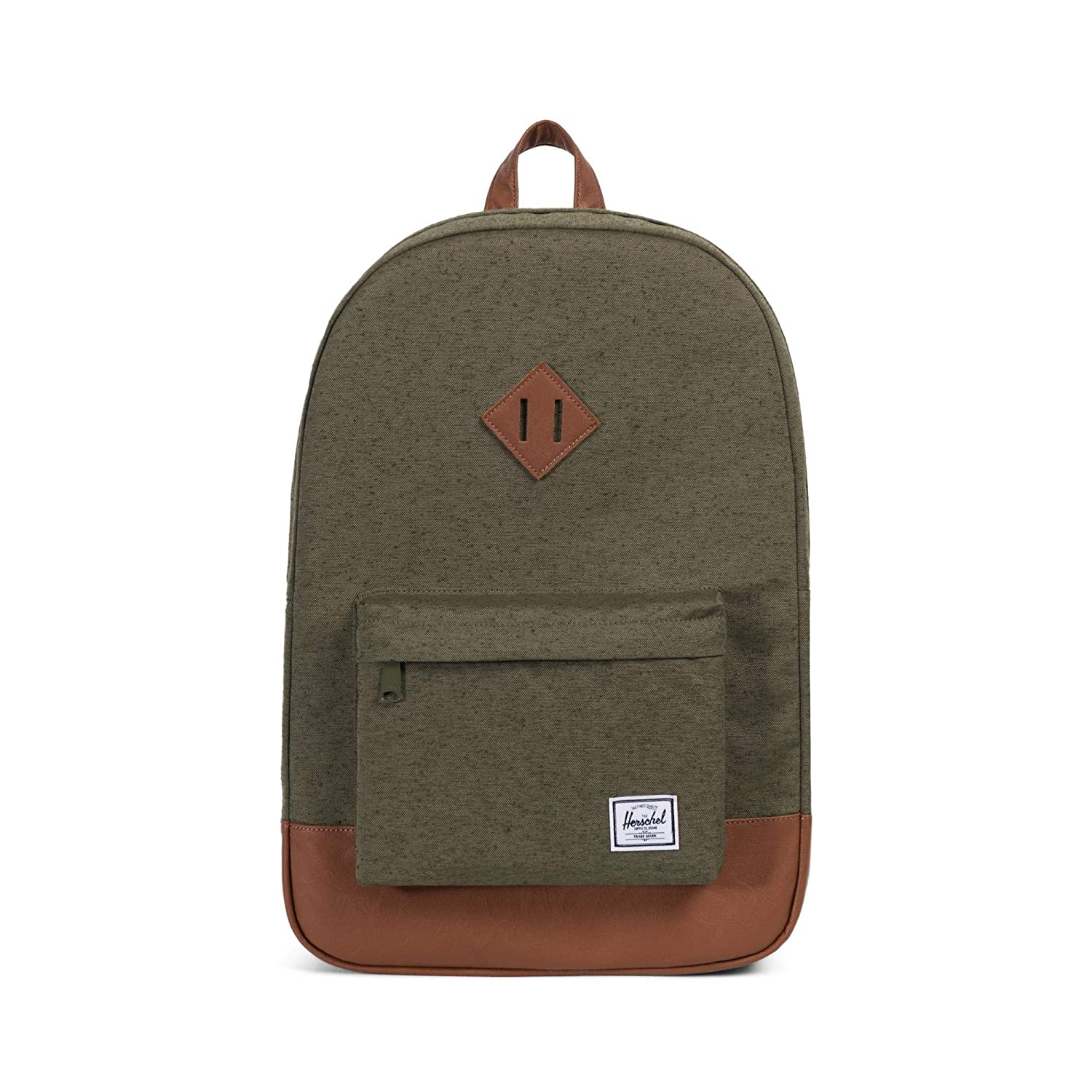 great variety styles famous designer brand high fashion Herschel Heritage Backpack Ivory Green Slub/Tan Synthetic Leather One Size