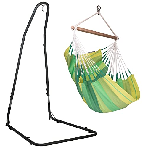 LA SIESTA Orqu dea Jungle – Cotton Basic Hammock Swing Chair with Powder Coated Steel Stand