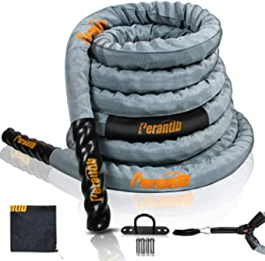 Perantlb Poly Battle Rope with Cloth Sleeve -1.5/2 Inch Diameter 30' 40' 50' Lengths -Gym Muscle Toning Metabolic Workout Fitness, Battle Rope Anchor Strap Kit Included…
