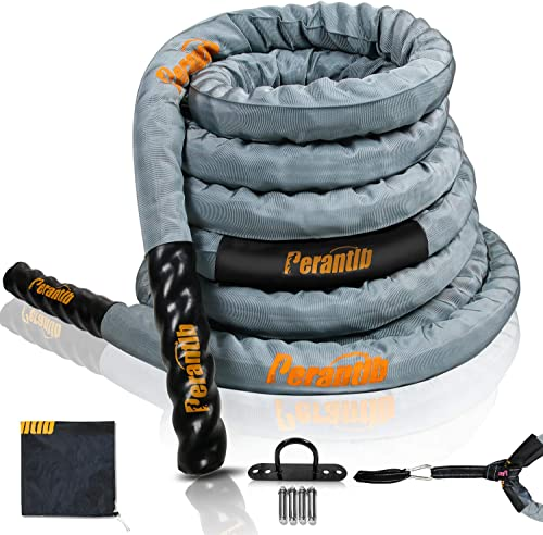 Perantlb Poly Battle Rope with Cloth Sleeve -1.5 2 Inch Diameter 30 40 50 Lengths -Gym Muscle Toning Metabolic Workout Fitness, Battle Rope Anchor Strap Kit Included