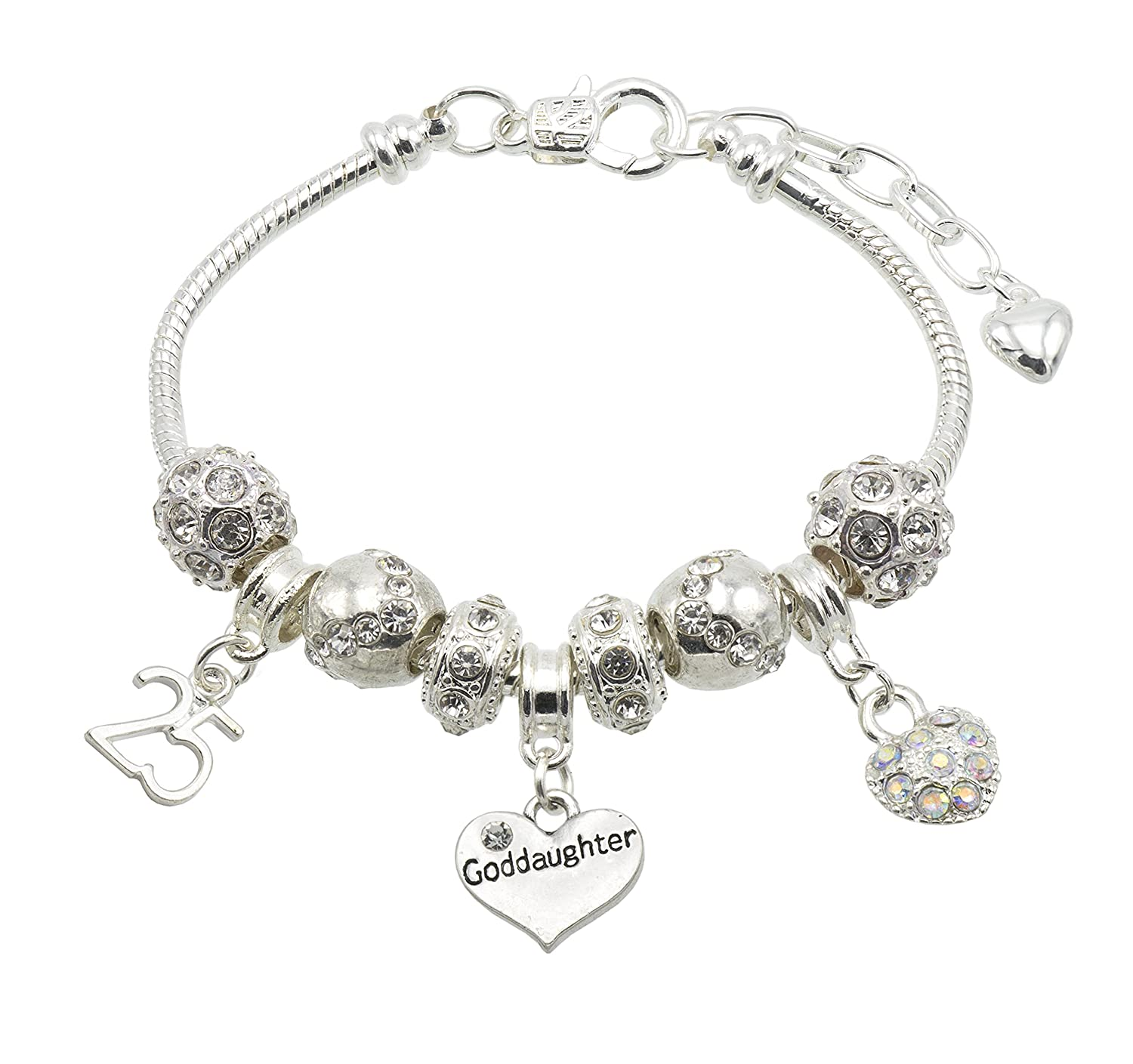 Goddaughter Birthday Charm Bracelet with Gift Box - Ages Available 13, 15, 16, 18, 20, 21, 25, 30, 35, 40, 45 & 50 45 & 50 (13th) Jewellery Hut BR#cmk001Goddaughter-13th