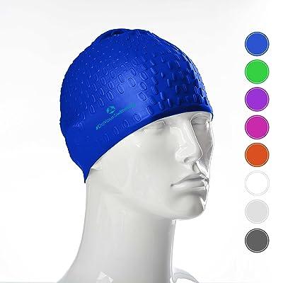 Bonnet de bain »Drops« de #DoYourSwimming / Idéal pour compétitions entraînements, sports nautiques, et loisirs / unisex original extensible élastic 100 % silicone longue vie (éla