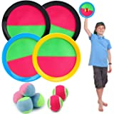 R HORSE Paddle Catch Ball Set Toss and Catch Ball Game Set 4 Hook and Loop Adjustable Self-Stick Paddles 6 Balls for Outdoor Activities (10 Packs)