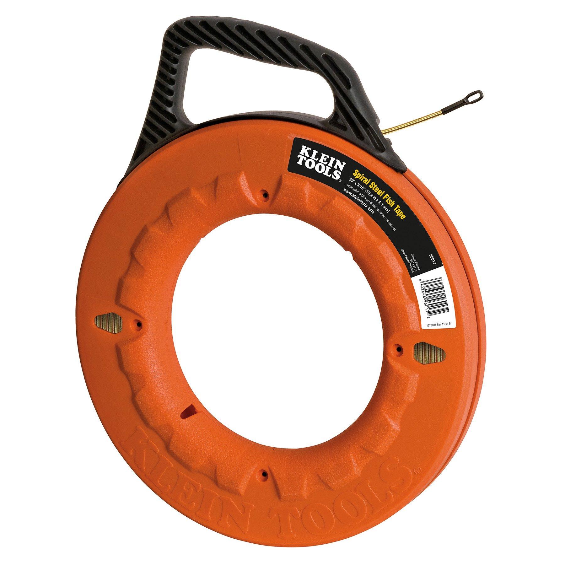 Klein Tools 56013 Navigator Spiral Steel Fish Tape, 50-Foot Length
