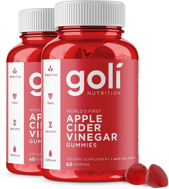 Apple Cider Vinegar Gummy Vitamins by Goli Nutrition - 2 Pack - (120 Count, Organic, Vegan, Gluten-Free, Non-GMO, with