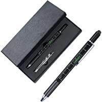 Arae Kugelschreiber Werkzeug - 6 in 1 Pen mit Touchscreen Stylus Stift Skala Lineal Wasserwaage Schraubendreher - Schwarz