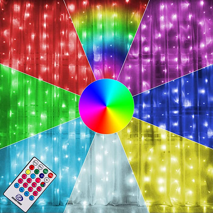 Twinkle Star 300 LED Window Curtain Lights, Christmas Rainbow RGB Color Changing 64 Functional Backdrop Light with Remote, Colorful Icicle Fairy String Light for Wedding, Party, Outdoor Indoor Decor