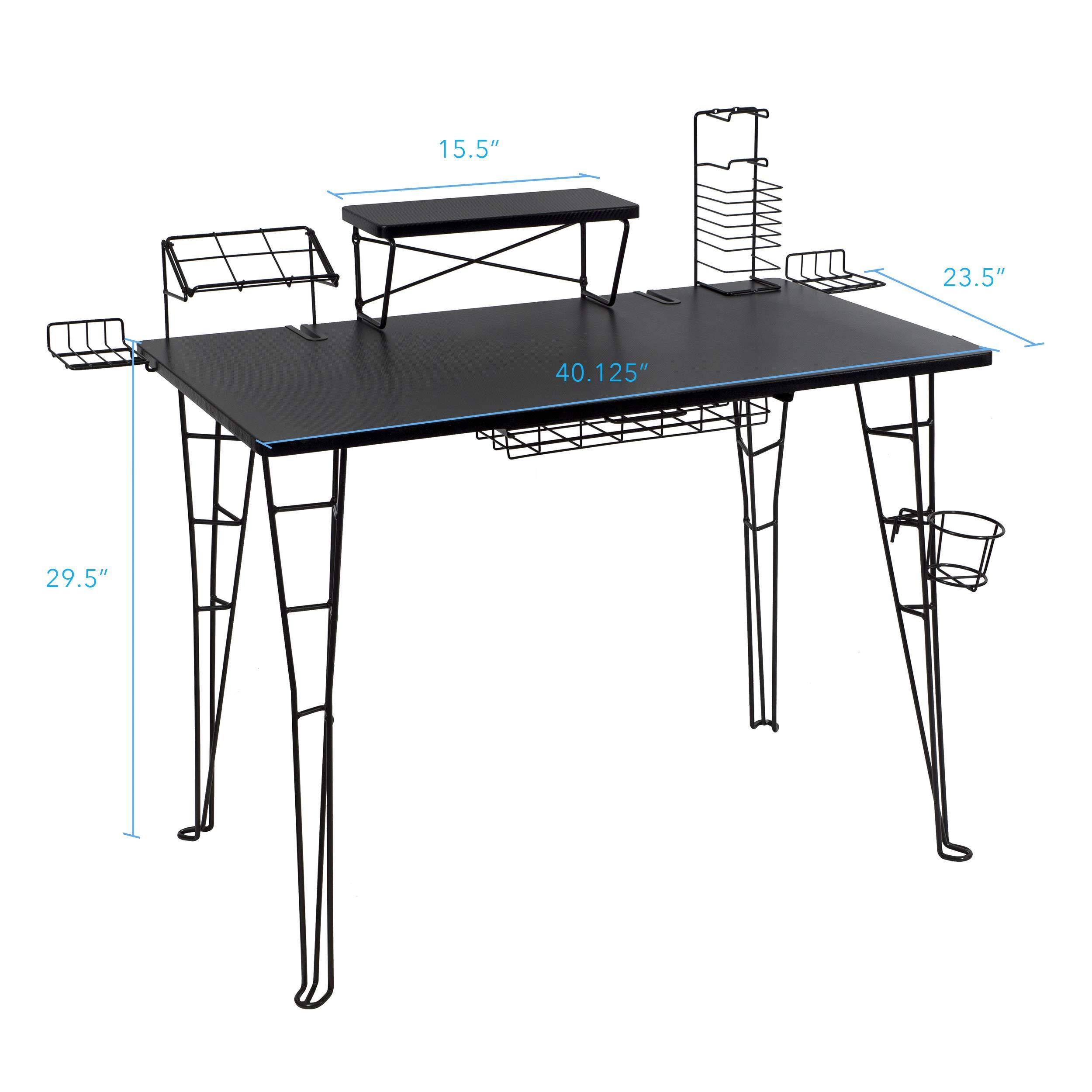 Atlantic Gaming Original Gaming Desk – 32 inch TV Stand, Charging Station, Speaker/5 Game/Controller/Headphone Storage