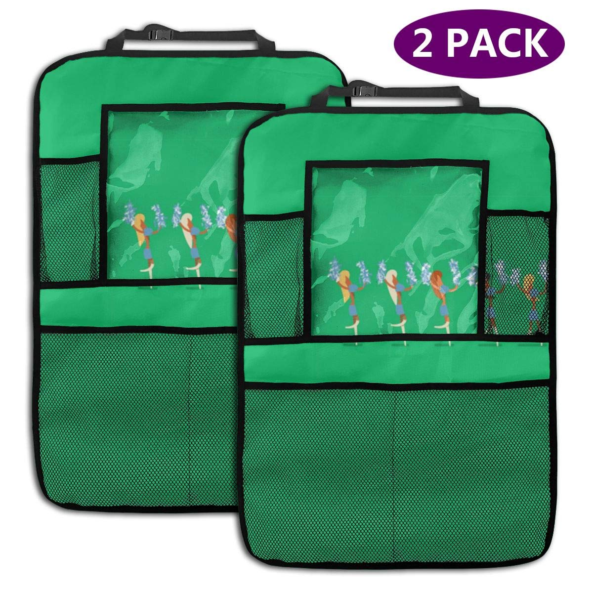 QF6FEICHAN Beauty Cheerleading Team Car Seat Back Protectors with Storage Pockets Kick Mats Accessories for Kids and Toddlers by QF6FEICHAN