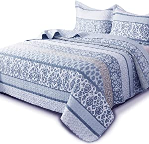 KASENTEX Country-Chic Printed Pre-Washed Quilt Set - Microfiber Fabric Quilted Pattern Bedding (Multi-Blue C, Queen + 2 Shams)