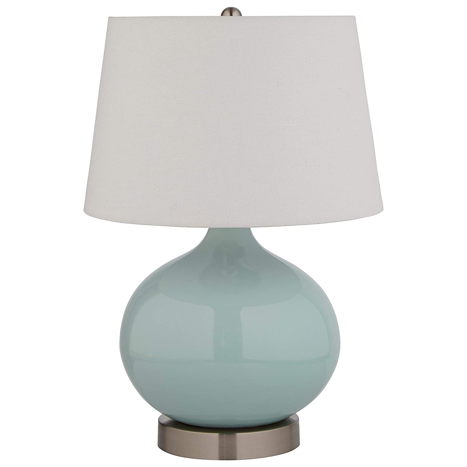 "Stone & Beam Cyan Ceramic Lamp, 20""H, With Bulb, White Shade"