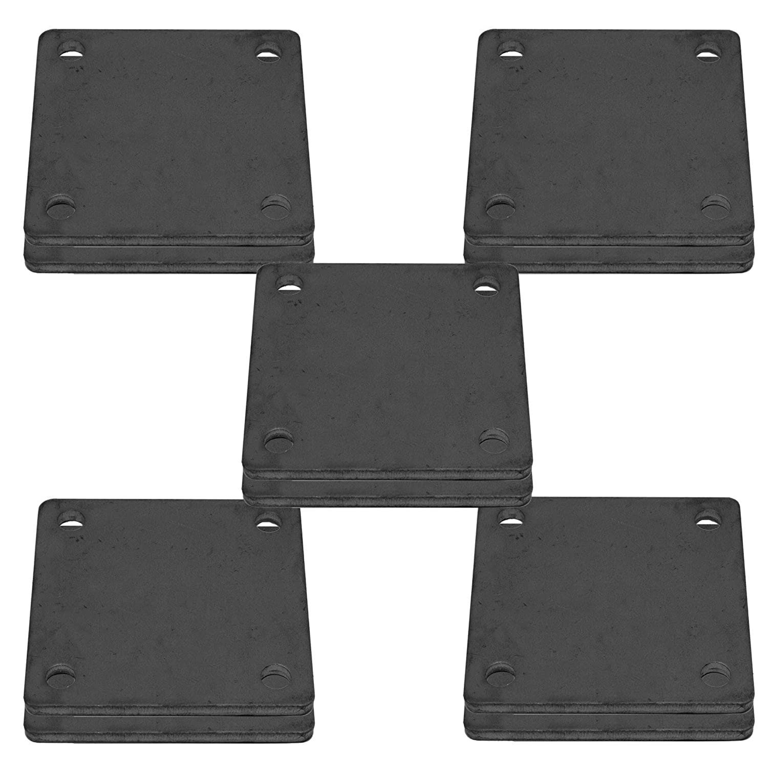 10 Pcs of Hot Rolled Steel Base Plate 3 X 3 with 4 Holes and Rounded Corners