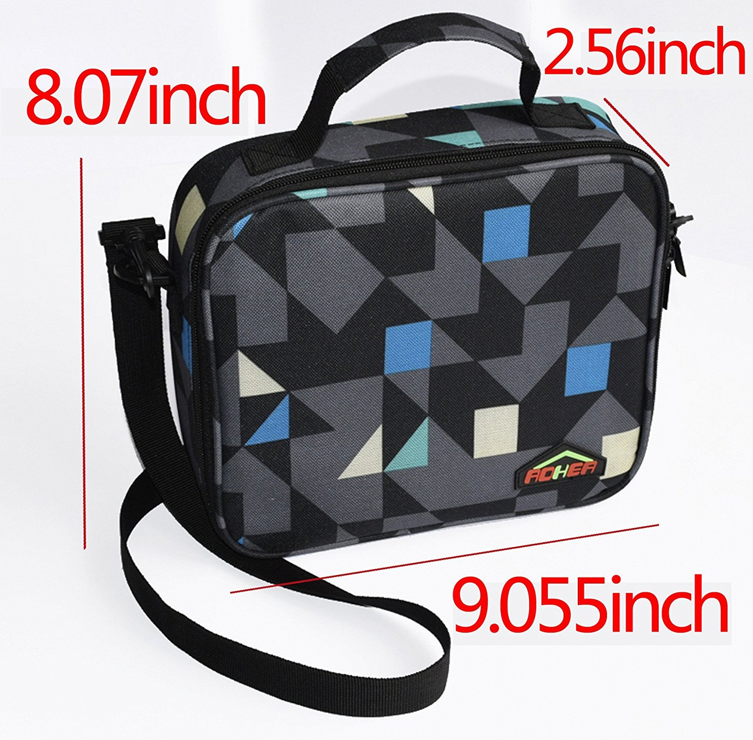 Lunch Bag Insulated Food Travel Tote Bags with Mesh Pocket Diamond Oxford Bento Box Cool Bag School Food Bag Ideal for Kids,Men and Women AOHEA