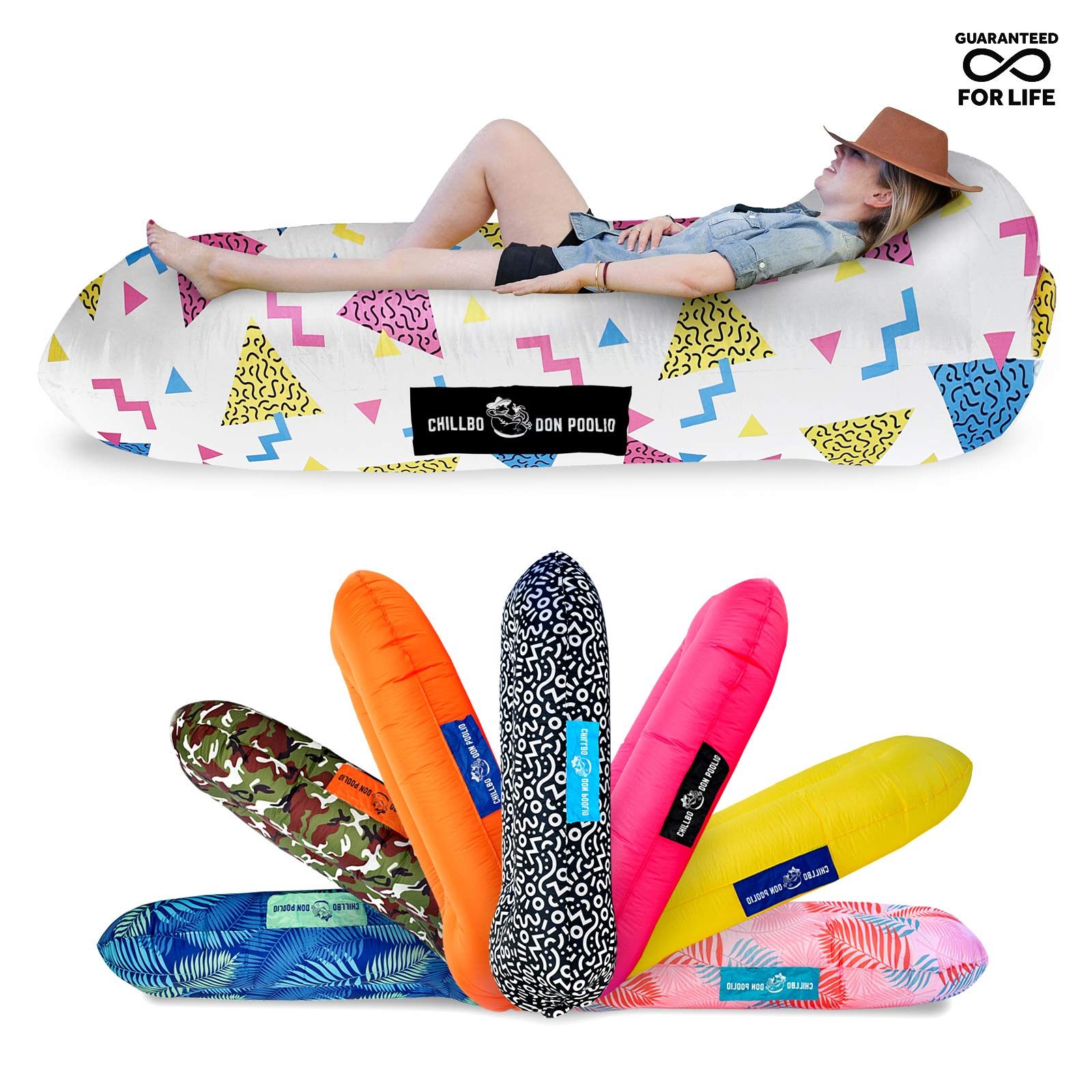 Chillbo Don POOLIO Pool Floats for Adults - Cool Patterns, Inflatable Sofa & Kids Hammock - Best Camping Gear for River Floats Hammock Chair & Raft for Beach (Nineties Fresh Prints White)