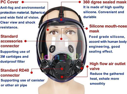Masque à gaz intégral pour le visage - 2 en 1 - 6800 - En silicone ...