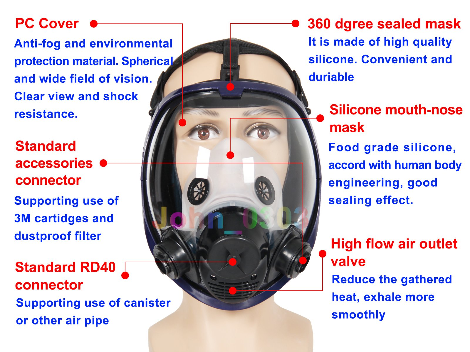 Complete Suit Trudsafe 6800 Painting Spraying Full Face Gas Chemical Mask Respirator, Dust Mask, 2 Kinds of Connectors, Good Tightness, Filters Included by Trudsafe (Image #6)