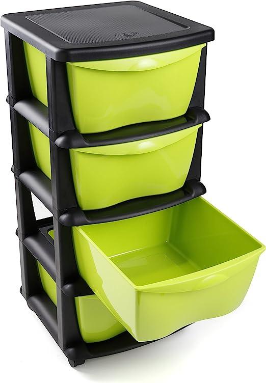 Maxi Nature Kitchenware Cajoneras contenedores de plástico con Ruedas para Uso rudo Contenedores para almacenaje de Color Negro con 4 cajones - Hecho en Europa: Amazon.es: Juguetes y juegos