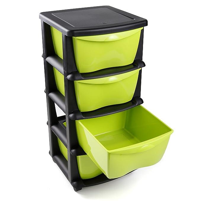 Cajoneras contenedores de plástico con ruedas para uso rudo Contenedores para almacenaje de color negro con 4 cajones - Hecho en Europa