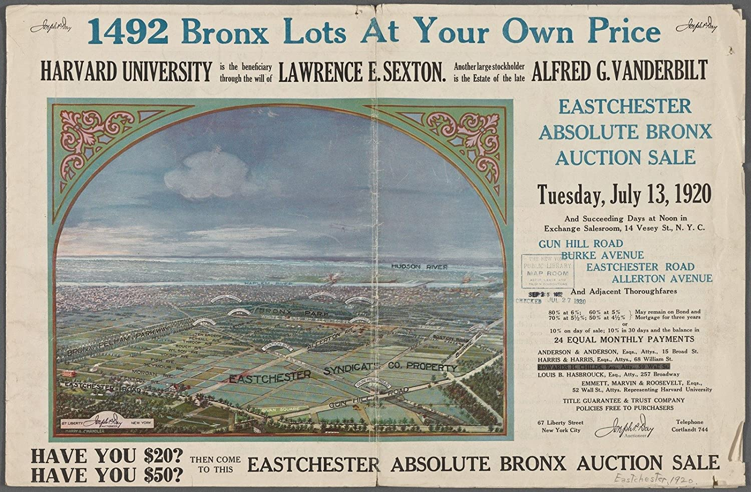 Amazon.com: Map Poster - 1492 Bronx Lots At Your Own Price 17\
