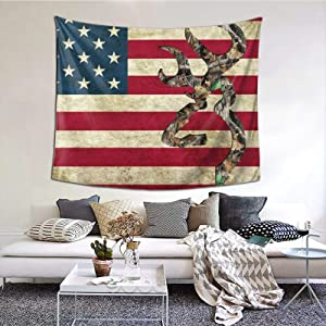 Gearsly American Flag Deer Camo Tapestry Bedroom Tapestries Living Room Wall Hanging Blanket 3D Printing Home Decor 60 X 51 in