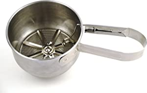 RSVP International Endurance (V-SIFT) Stainless Steel Vintage One-Hand Sifter, 1 Cup   Top Cakes, Sift Flour, Marinade BBQ & More   Dishwasher Safe   Powder Sugar, Sift Flour, Spread Toppings & More