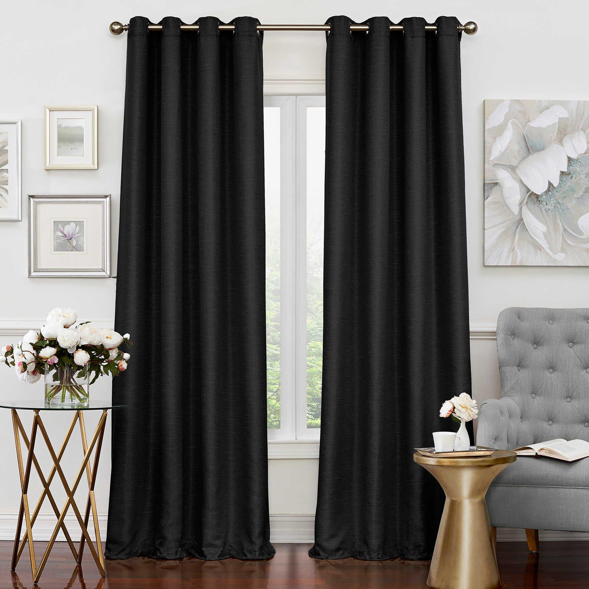 Solar Shield Neilson Grommet Room Darkening Window Curtain Panel (108-Inch, BLACK)
