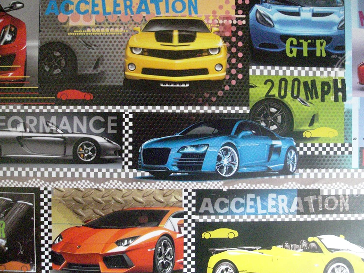 2 sheets of high performance racing sports cars wrapping paper
