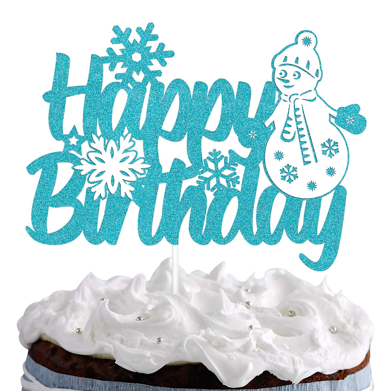 Snowflake Cake Topper Happy Birthday Sign Cake Decorations for Winter Onederland Little Snowman Wonderland Theme Birthday Party Supplies Sliver Blue Glitter Decor