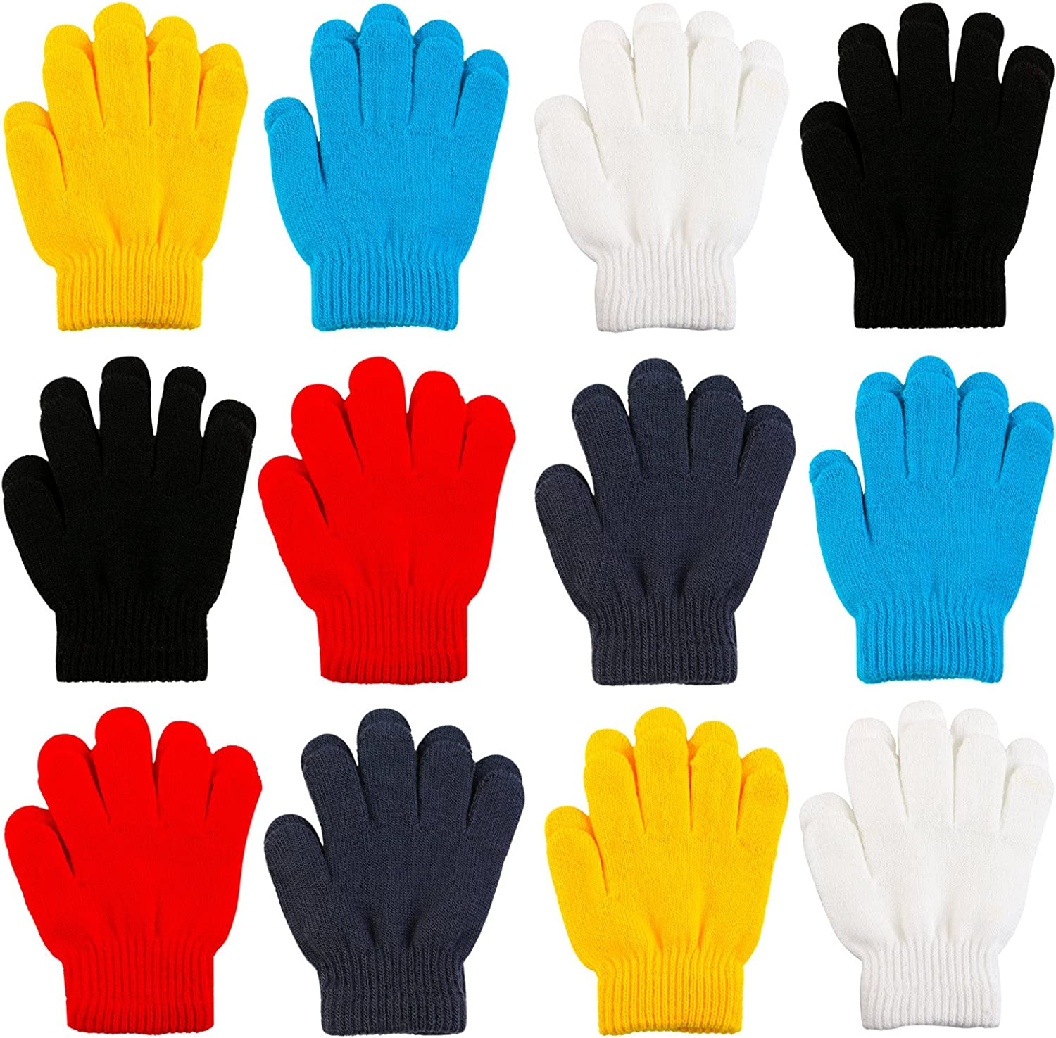 Cooraby 12 Pairs Kids Winter Magic Gloves Children Stretchy Warm Magic Gloves Boys or Girls Knit Gloves