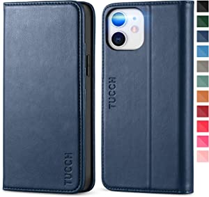 TUCCH iPhone 12 Mini Wallet Case, Premium PU Leather Folio Case with [Kickstand] [Card Slot] Flip Notebook Cover [Protective TPU Interior Case] Compatible with iPhone 12 Mini 5.4-inch, Dark Blue