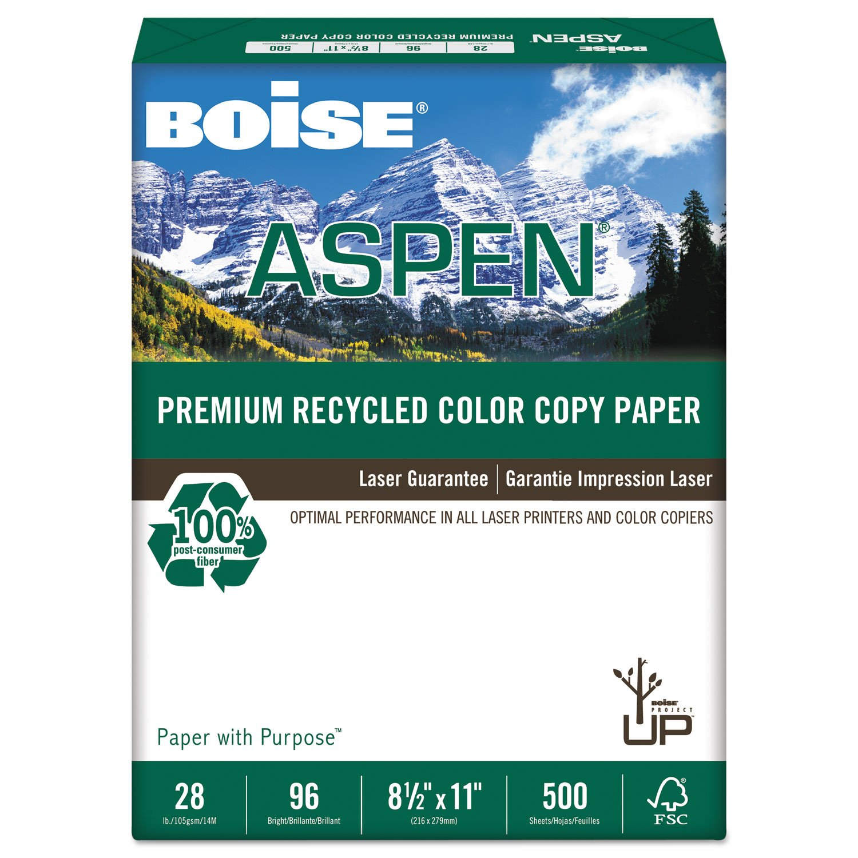 BOISE CASCADE ASPEN Premium Copy Paper, 96 Bright, 28 lb, 8-1/2 x 11 Inches, White, 500 Sheets/Ream (CASACC2811)