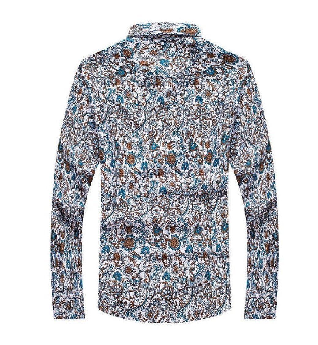 Godeyes Mens Long Sleeve Printed Oversize Summer Lapel Button Down Dress Shirt