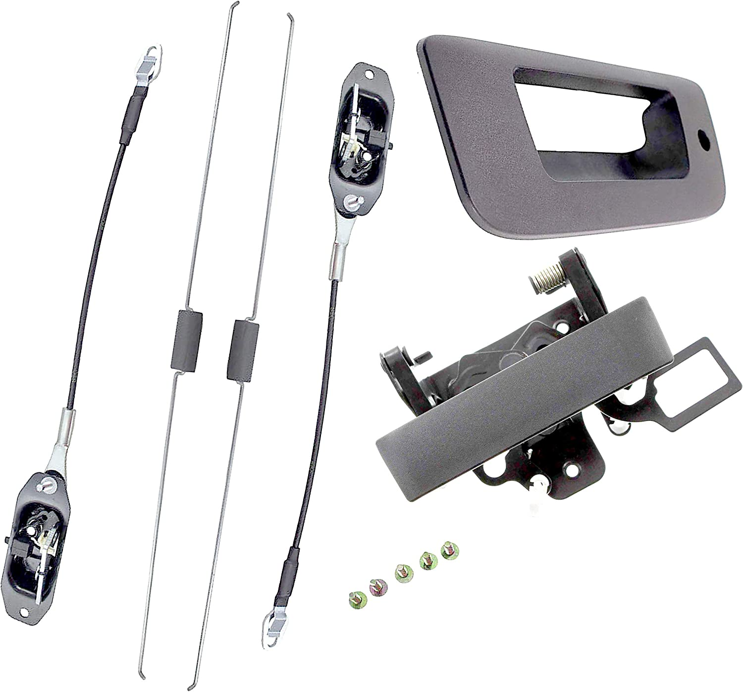 APDTY 140170 Tailgate Cable Latch Rod Handle & Trim Bezel With Keyhole Fits 2007-2013 Silverado or Sierra 2500 or 3500 Trucks With Locking Tailgate (Replaces 20927958, 20928119, 22755302, 25838260)