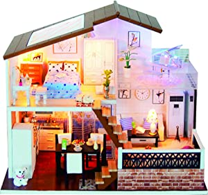 Spilay DIY Miniature Dollhouse Wooden Furniture Kit,Handmade Mini Modern Model Plus with Dust Cover & Music Box ,1:24 Scale Creative Doll House Toys for Children Lover Gift (A Meter of Sunshine)