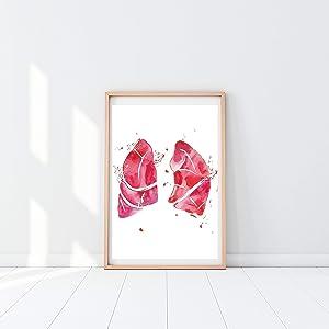 Lung Anatomy Art Print, Respiratory Therapy Wall Decor