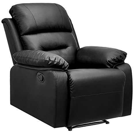 Enjoyable Amazonbasics Classic Faux Leather Extra Padded Recliner Chair Black Ocoug Best Dining Table And Chair Ideas Images Ocougorg