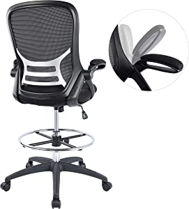 High-Back Mesh Ergonomic Drafting Chair Tall Office Chair Standing Desk Stool with Adjustable Foot Ring and Flip-Up Arms