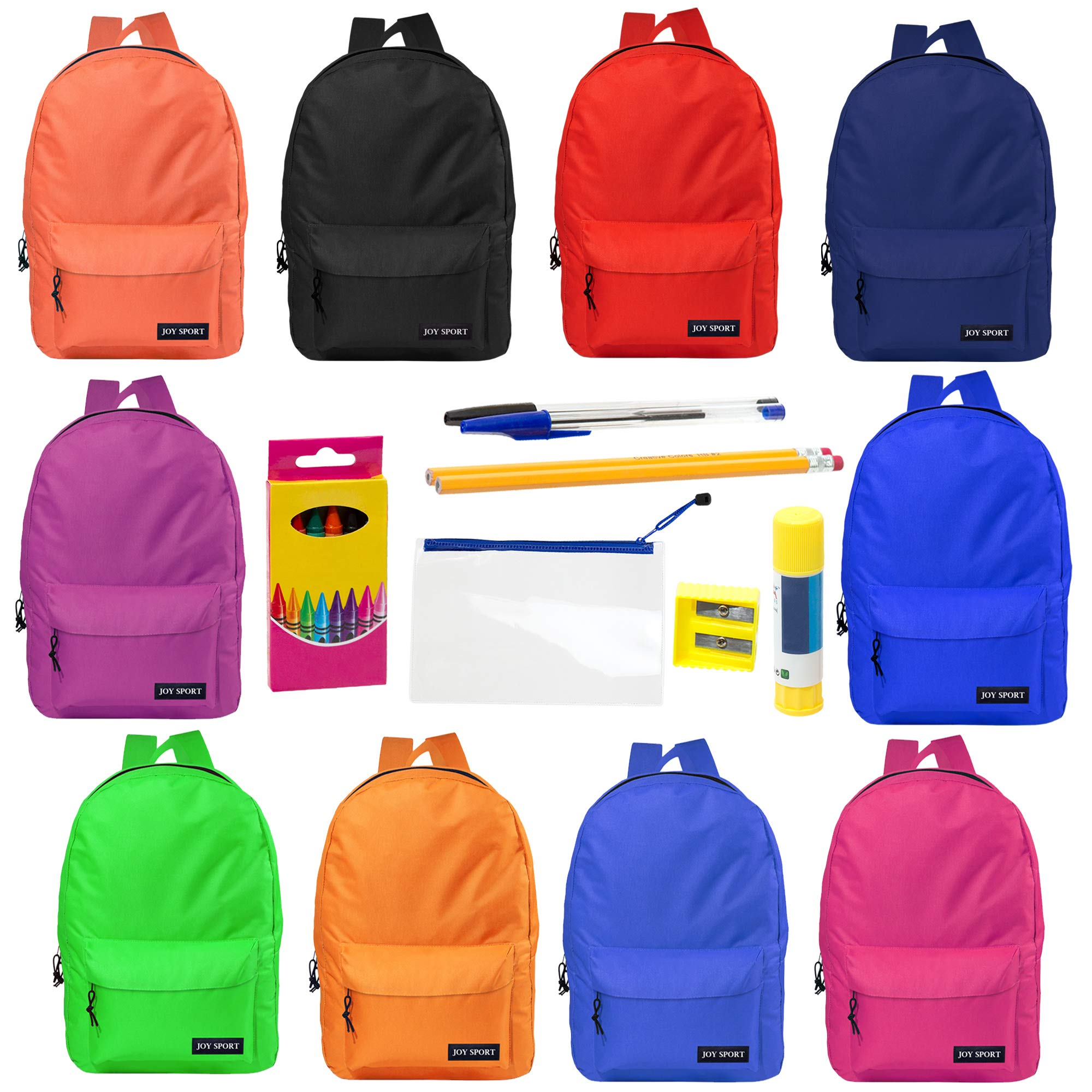 17 Inch Wholesale Backpacks in Assorted Colors with 12 Piece School Supply Kits Bulk Case of 24 (10 Color Assortment)