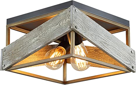 Amazon Com Modern Farmhouse Flush Mount Light Fixture Two Light Metal And Wood Square Flush Mount Ceiling Light For Hallway Living Room Bedroom Kitchen Entryway Antique Gold And Black Home Improvement