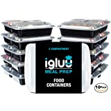 [10 pack] 3 Compartment BPA-Free Reusable Meal Prep Containers | Plastic Food Storage Trays with Airtight Lids | Microwavable, Freezer and Dishwasher Safe | Stackable Bento Lunch Boxes | Bonus eBook