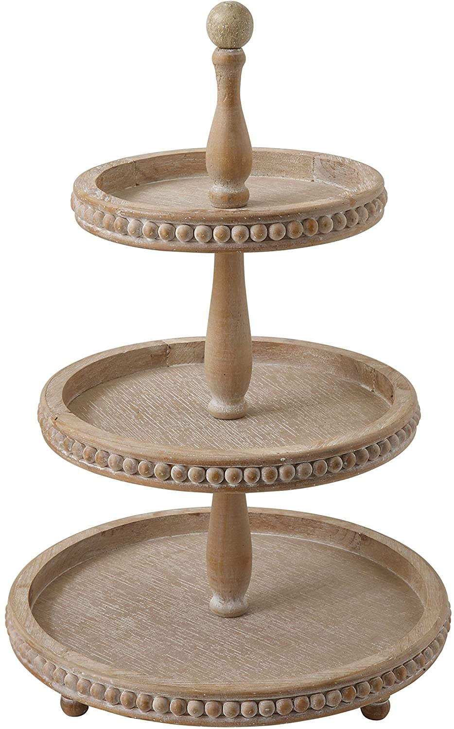 Creative Co Op Round 3 Tier Decorative Wood Tray Home Kitchen