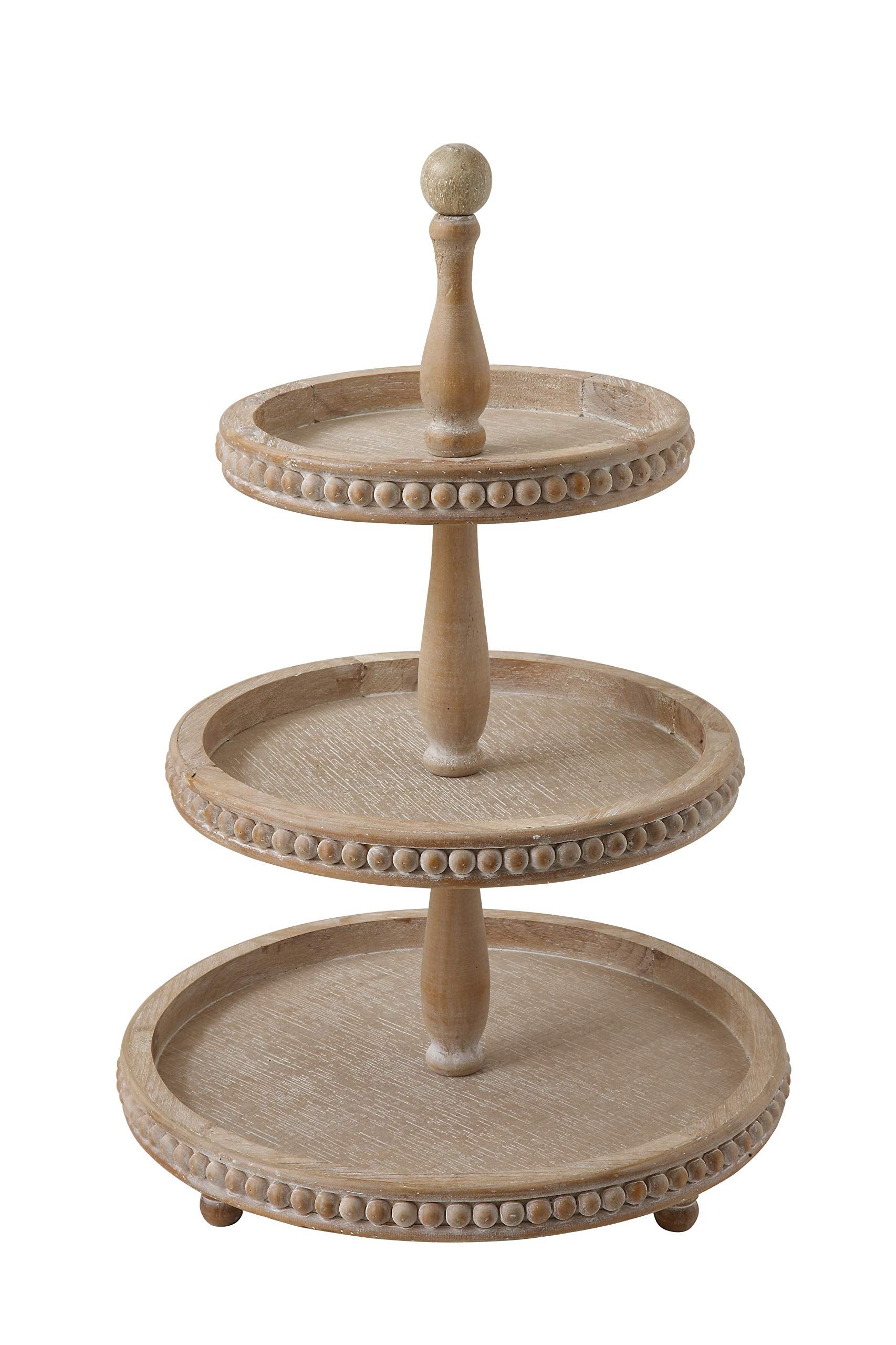 Creative Co-Op Round 3-Tier Decorative Wood Tray by Creative Co-op