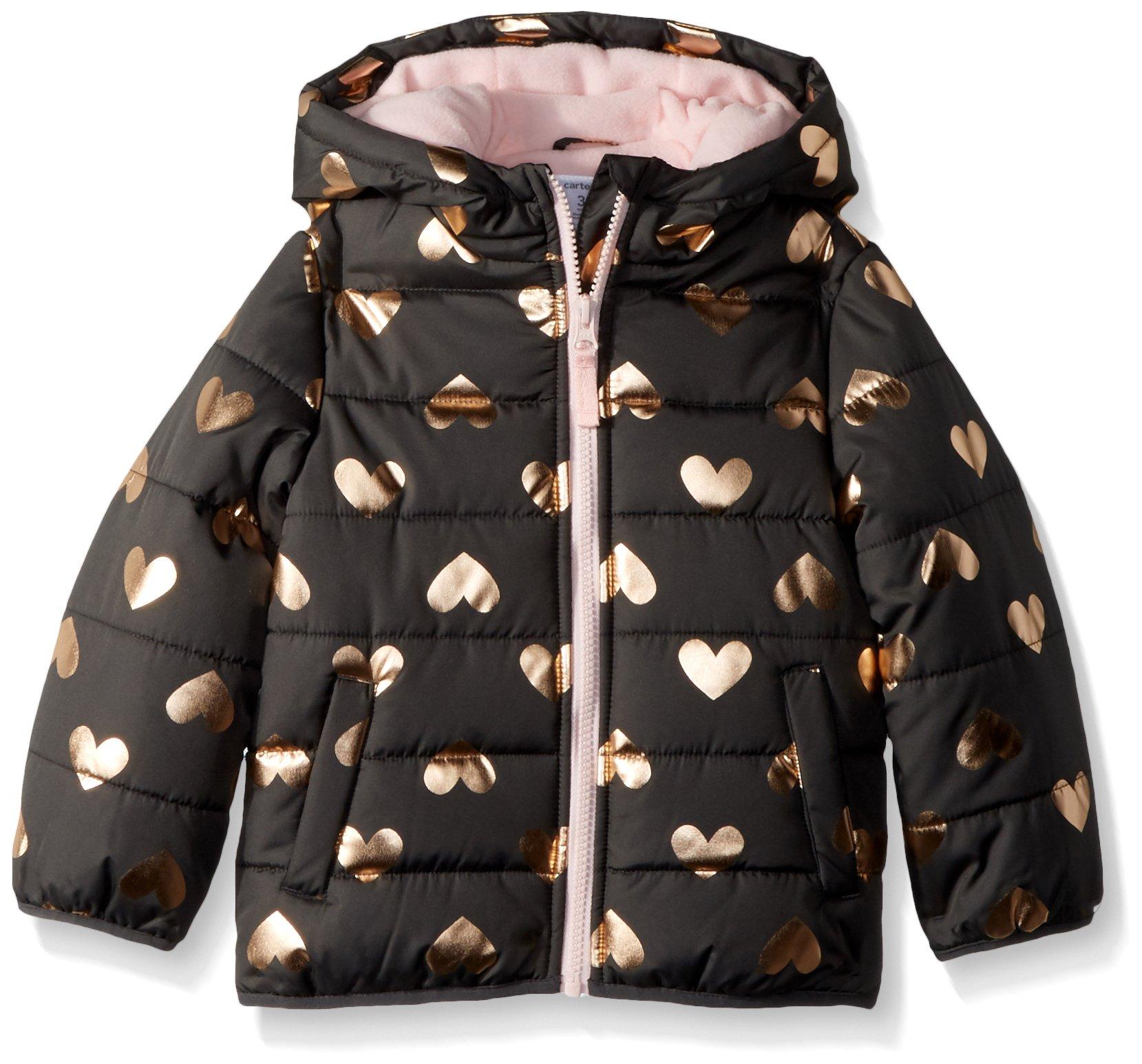 Carter's Baby Girls Fleece Lined Puffer Jacket Coat, Grey Hearts, 24M