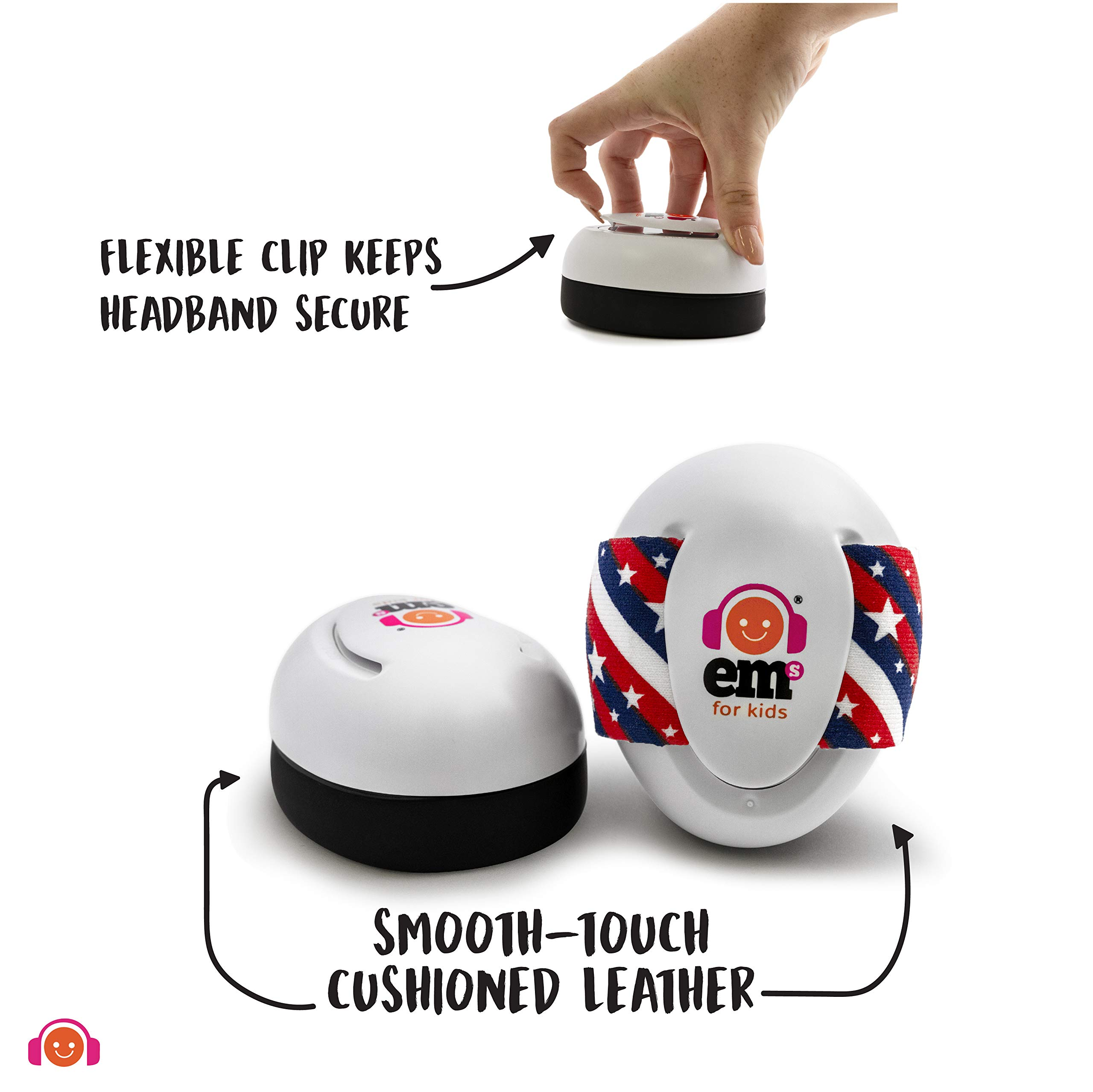 EMS for Kids Baby Earmuffs - White with Stars n Stripes. The Original Baby Earmuffs, Now Made in The USA. Great for Concerts, Music Festivals, Planes, NASCAR, Motor Racing, Power Tools and More! by Ems for Kids (Image #5)