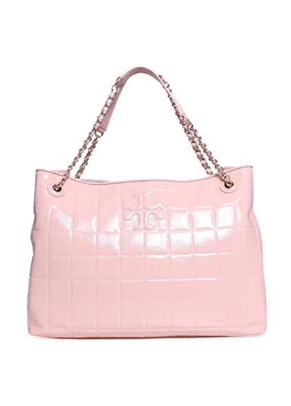 Amazon Tory Burch Marion Quilted Patent Leather Tote In Light