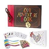 Pulaisen Our Adventure Book Scrapbook Pixar Up Handmade DIY Family Scrapbooking Album with Embossed Letter Cover Retro Photo Album (Color: Our Adventure Book, Tamaño: 11.8