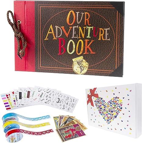 Amazon Com Pulaisen Our Adventure Book Scrapbook Pixar Up Handmade Diy Family Scrapbooking Album With Embossed Letter Cover Retro Photo Album