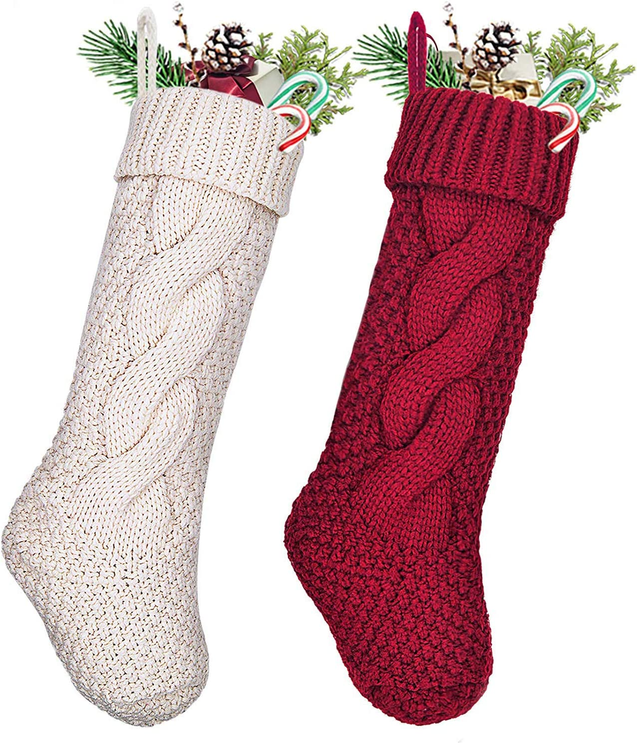 UNIQUEED Cable Knit Christmas Stockings,2 Pack 18 inches Large Size Cable Knit Knitted Stockings,Xmas Rustic Stocking Decorations,Cream or Burgundy Cream and Burgundy