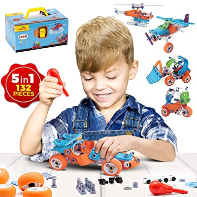 STEM Learning Toy For Boys Age 7-12 - 132 Pcs - Erector Set Mechanical Educational Construction Engineering Building Toy Set for Kids STEM Kits Toy Build 5 Models Great Gift Toy Set for Boys and Girls: Toys & Games