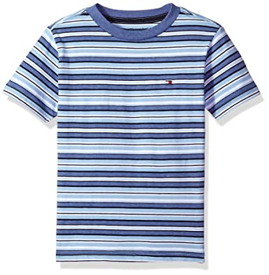 9c157cd13bed Tommy Hilfiger Boys' Big Short Sleeve Striped Crew-Neck T-Shirt, Surf